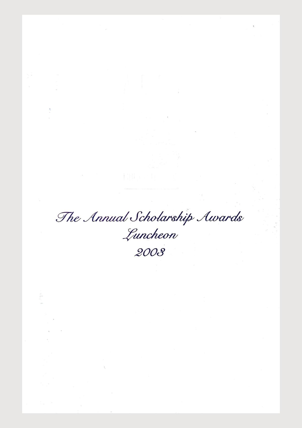 Scholar Yearbook – 2003